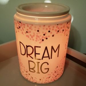 Scentsy Dream Big pink, white, and gold warmer